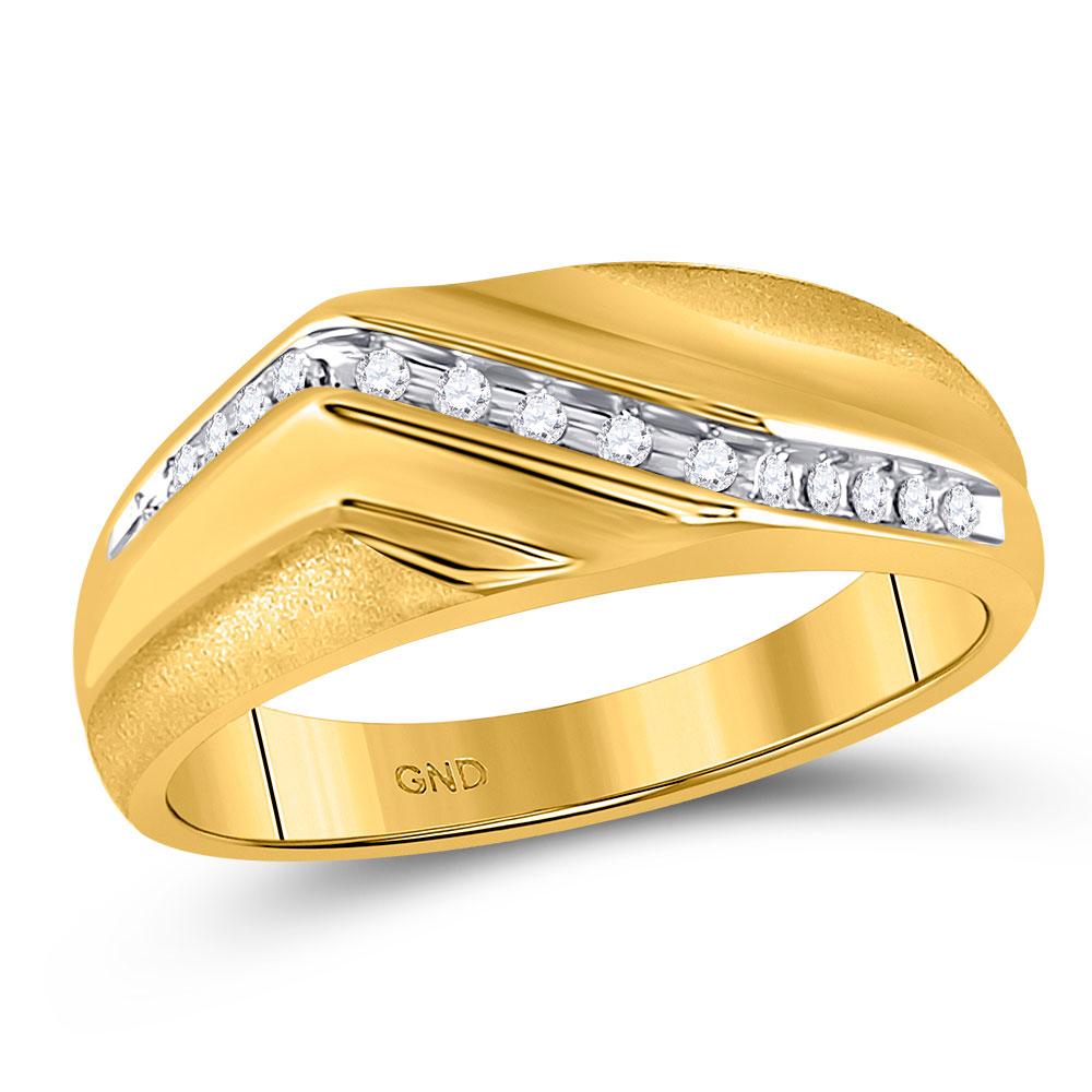 0.13 CTW Mens Diamond Diagonal Single Row Wedding Ring 10KT Yellow Gold - REF-24M2H