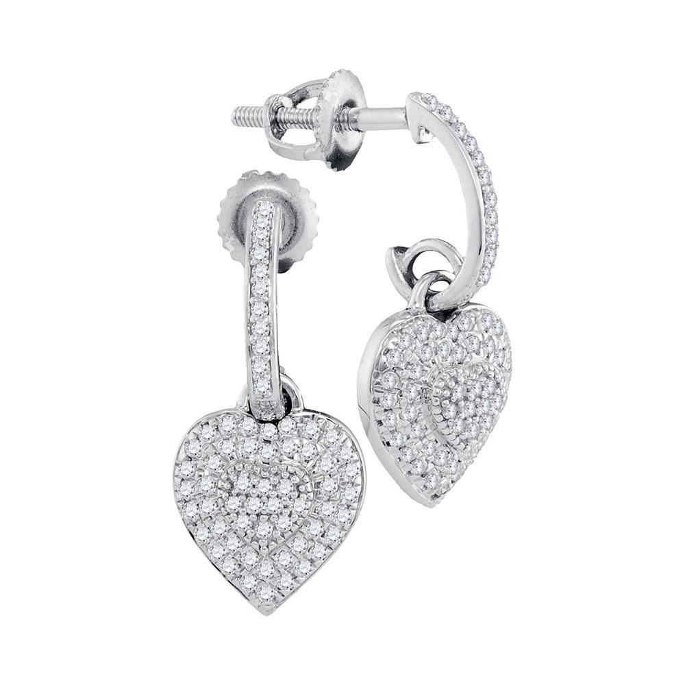0.33 CTW Diamond Heart Love Dangle Earrings 10KT White Gold - REF-34Y4X