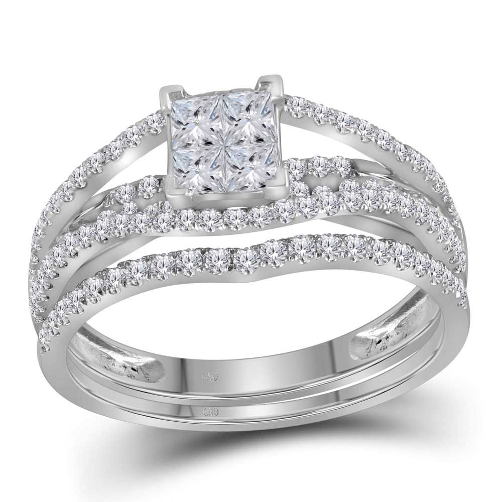 1 CTW Princess Diamond Bridal Engagement Ring 10KT White Gold - REF-75X2Y