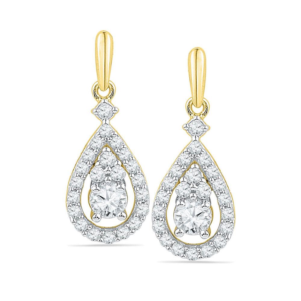 0.50 CTW Diamond Solitaire Teardrop Dangle Earrings 10KT Yellow Gold - REF-49X5Y