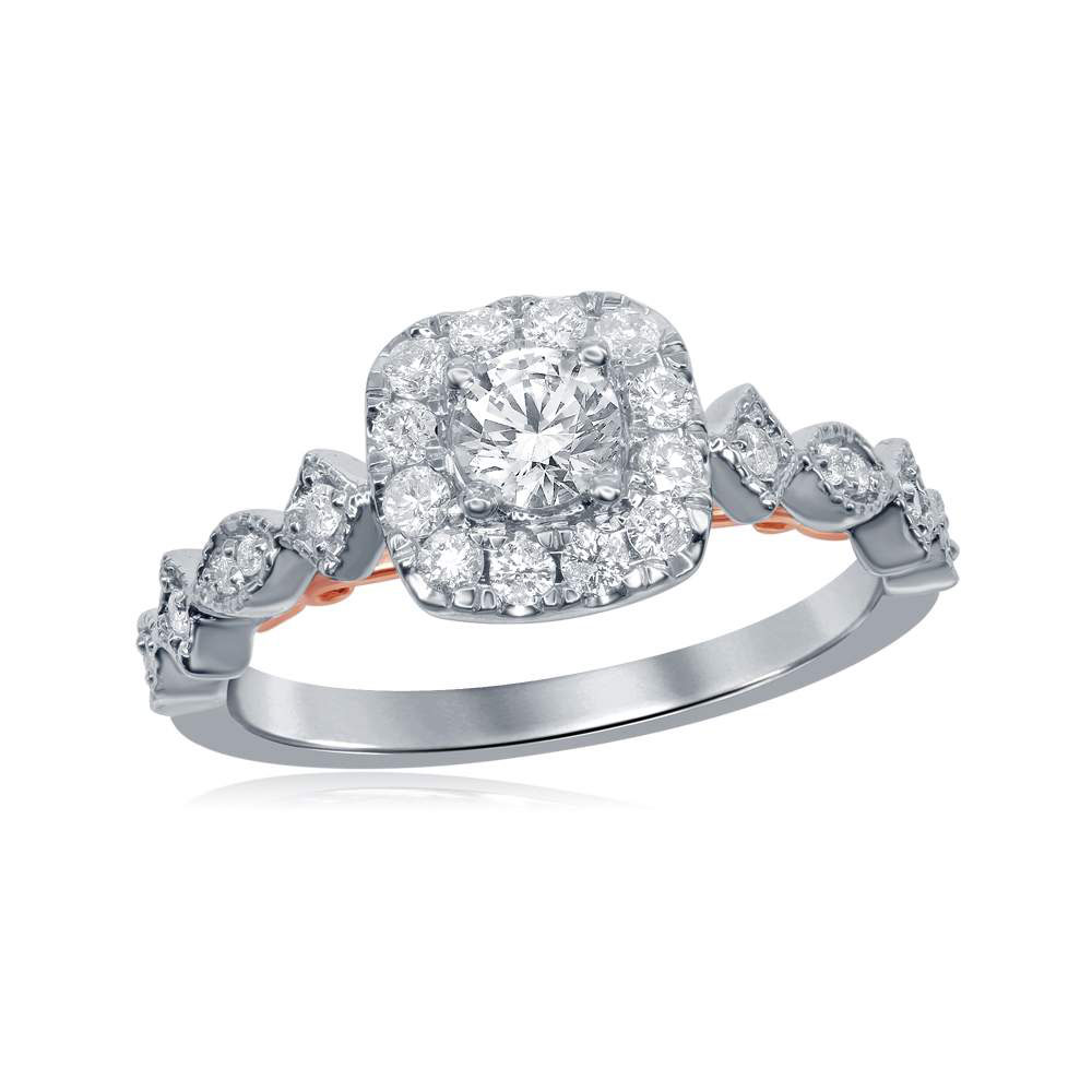 0.76 CTW Diamond Solitaire Bellina Bridal Engagement Ring 14KT Two-tone Gold - REF-112Y5X