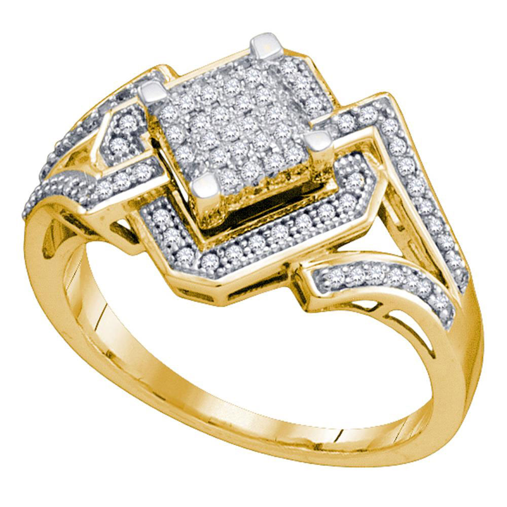 0.35 CTW Diamond Diagonal Square Cluster Ring 10KT Yellow Gold - REF-41K9W