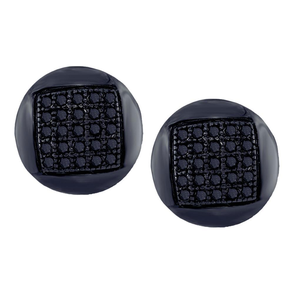 0.15 CTW Mens Black Color Diamond Circle Cluster Stud Earrings 10KT White Gold - REF-14M9H