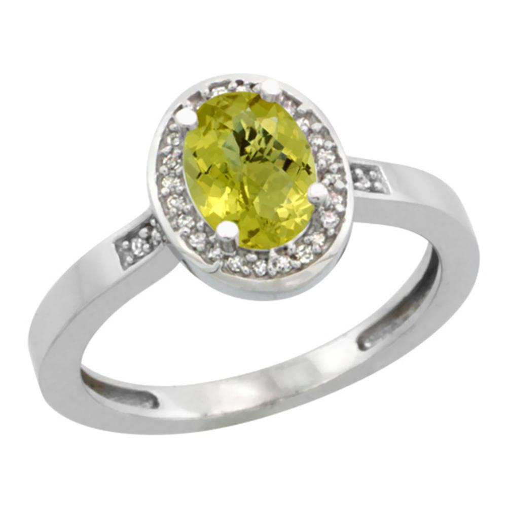 Natural 1.08 ctw Lemon-quartz & Diamond Engagement Ring 14K White Gold - REF-30R9Z