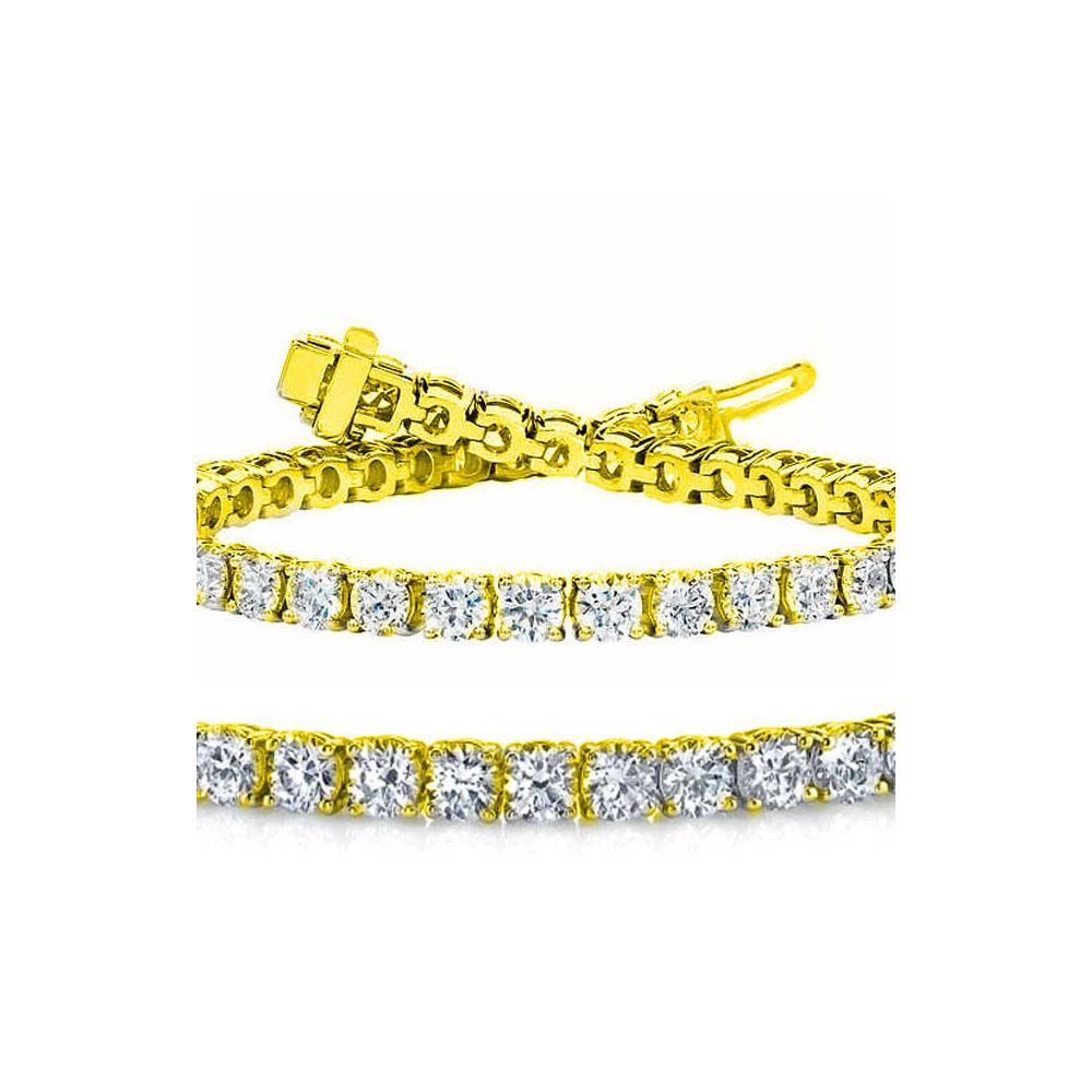 Natural 7ct VS-SI Diamond Tennis Bracelet 18K Yellow Gold - REF-672N2H