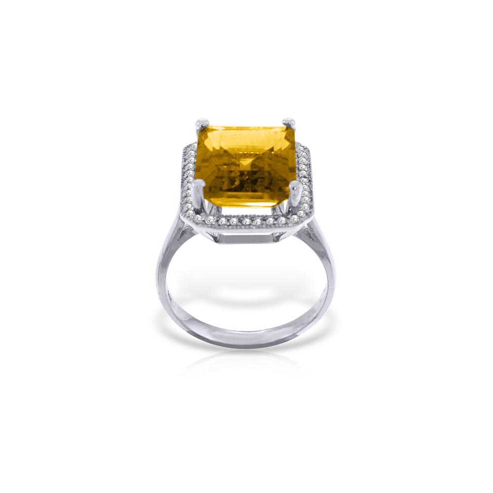 Genuine 5.8 ctw Citrine & Diamond Ring Jewelry 14KT White Gold - REF-82T2A