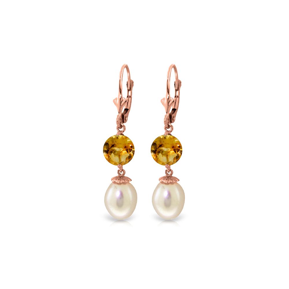 Genuine 11.10 ctw Pearl & Citrine Earrings Jewelry 14KT Rose Gold - REF-26A6K