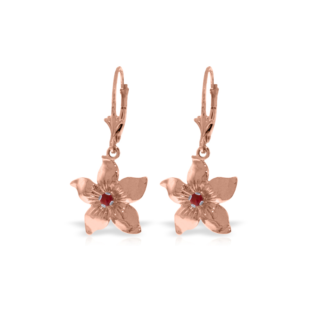Genuine 0.20 CTW Ruby Earrings Jewelry 14KT Rose Gold - REF-66Y5F