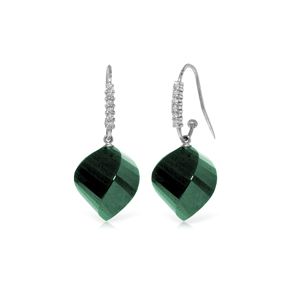 Genuine 30.68 ctw Green Sapphire Corundum & Diamond Earrings Jewelry 14KT White Gold - REF-67T3A