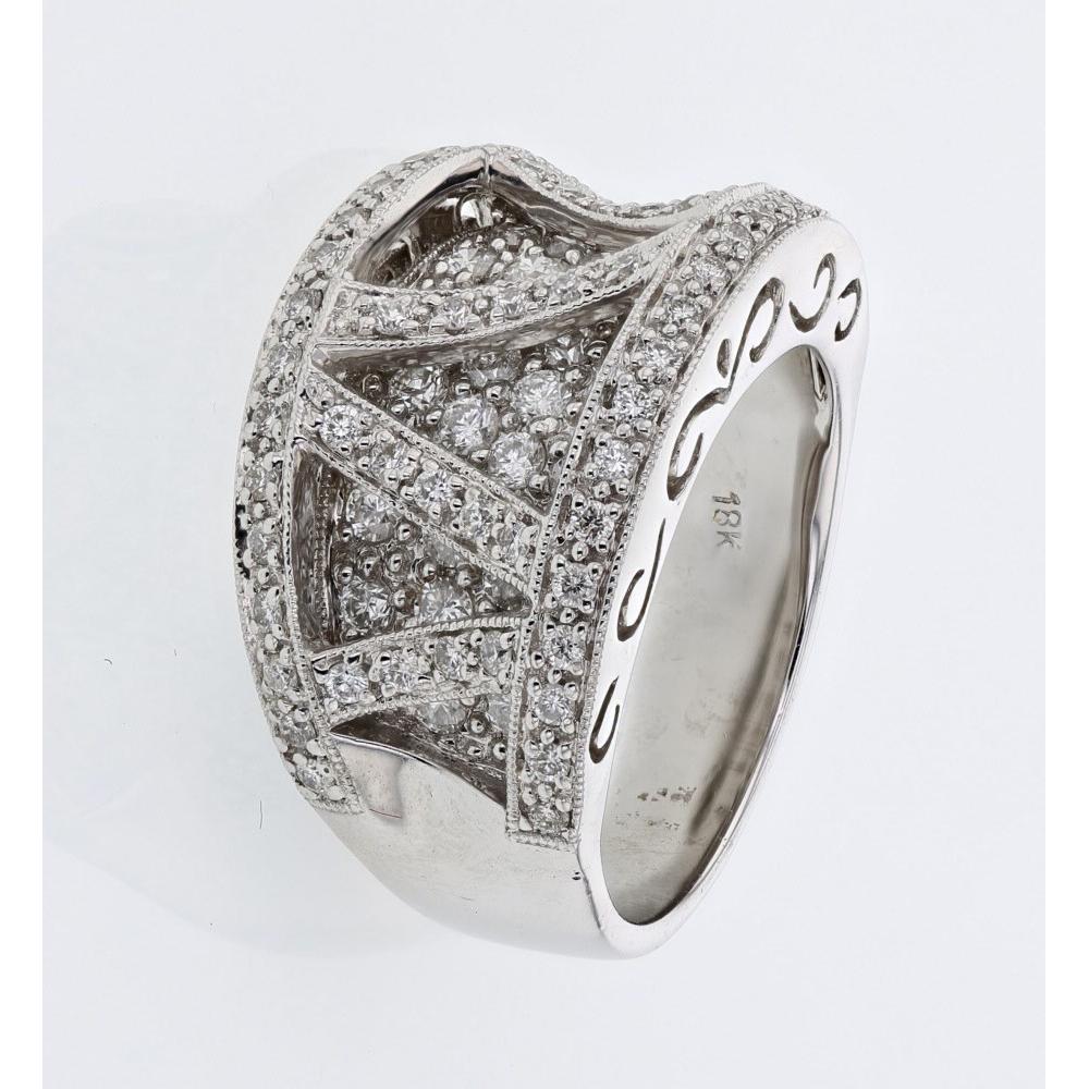 1.22 CTW Diamond Ring 18K White Gold - REF-164R6K