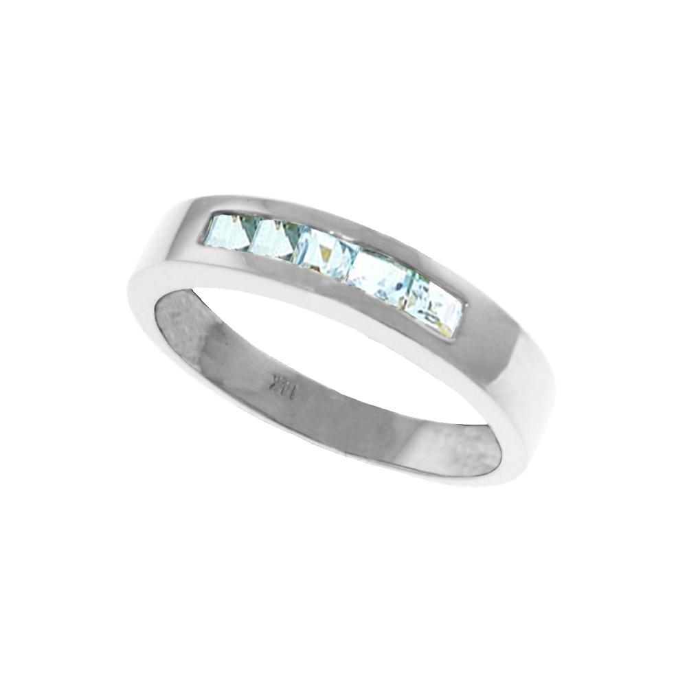 Genuine 0.50 ctw Aquamarine Ring Jewelry 14KT White Gold - REF-47T2A