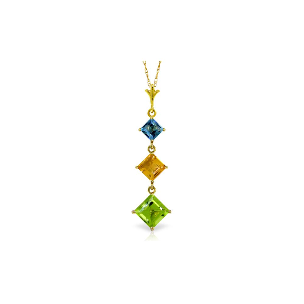 Genuine 2.4 ctw Blue Topaz & Citrine Necklace Jewelry 14KT Yellow Gold - REF-29X7M