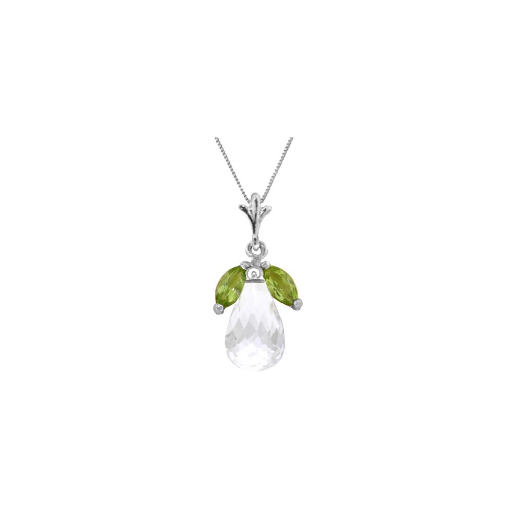 Genuine 7.2 ctw White Topaz & Peridot Necklace Jewelry 14KT White Gold - REF-30T5A