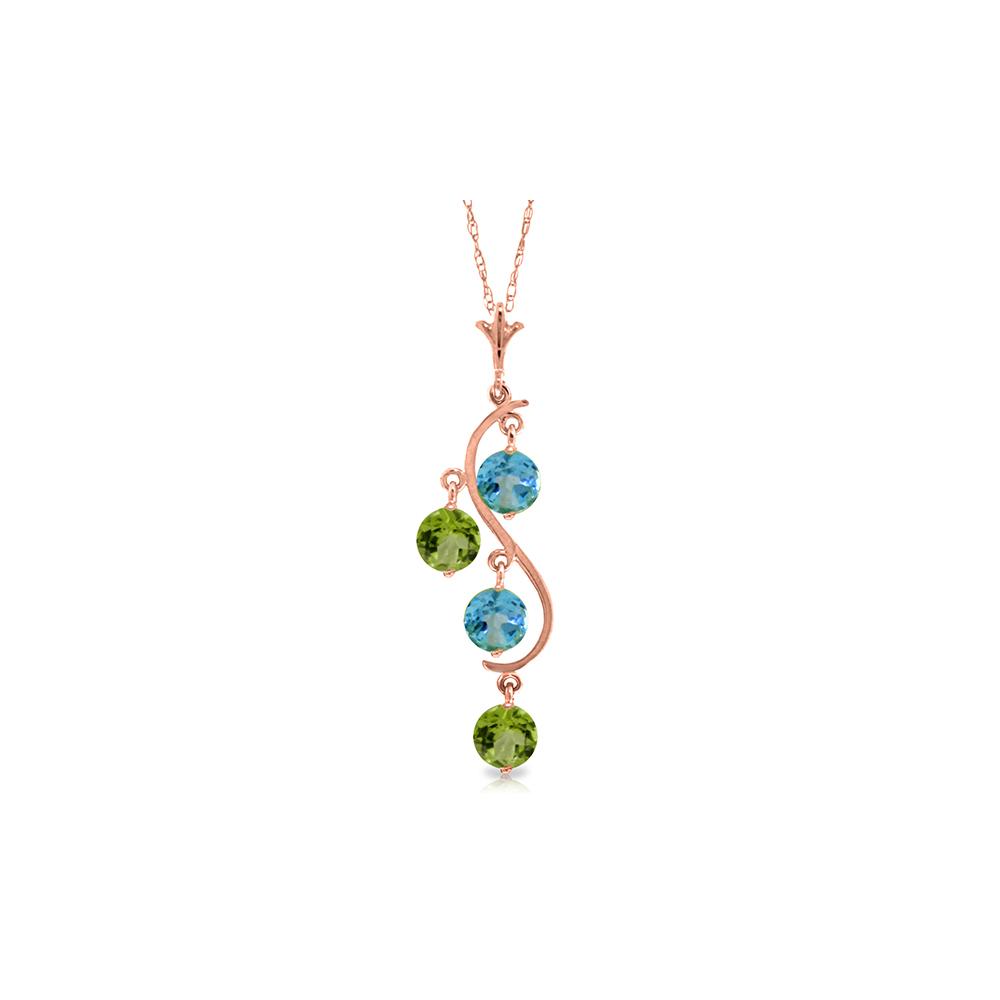 Genuine 2.3 ctw Blue Topaz Necklace Jewelry 14KT Rose Gold - REF-30W2Y
