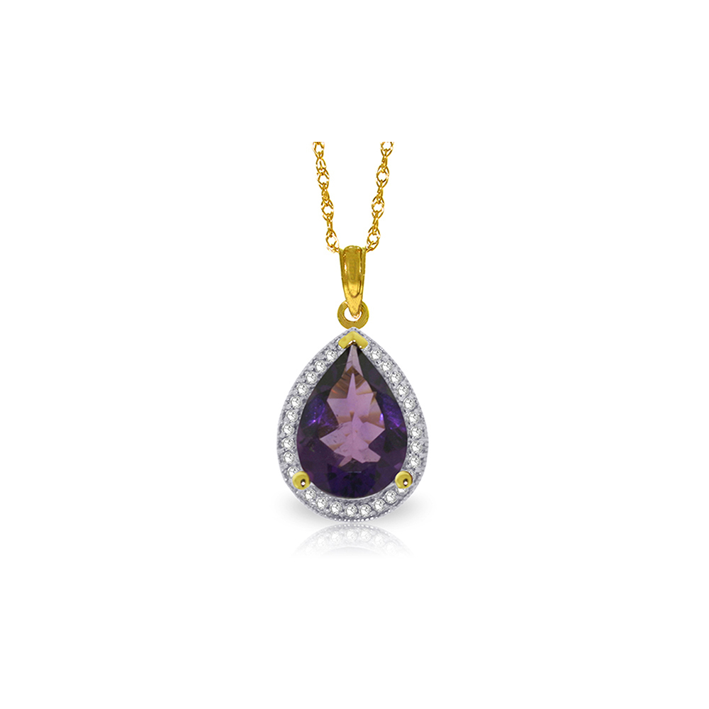 Genuine 3.41 ctw Amethyst & Diamond Necklace Jewelry 14KT Yellow Gold - REF-69Z6N