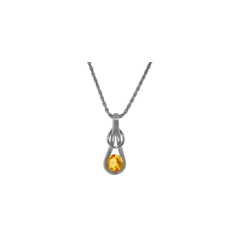 Genuine 0.65 ctw Citrine Necklace Jewelry 14KT White Gold - REF-73H7X