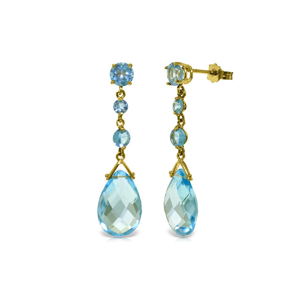 Genuine 13.2 ctw Blue Topaz Earrings Jewelry 14KT Yellow Gold - REF-39W3Y