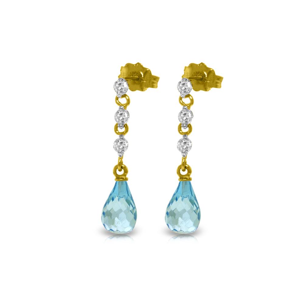 Genuine 3.3 ctw Blue Topaz & Diamond Earrings Jewelry 14KT Yellow Gold - REF-42P9H