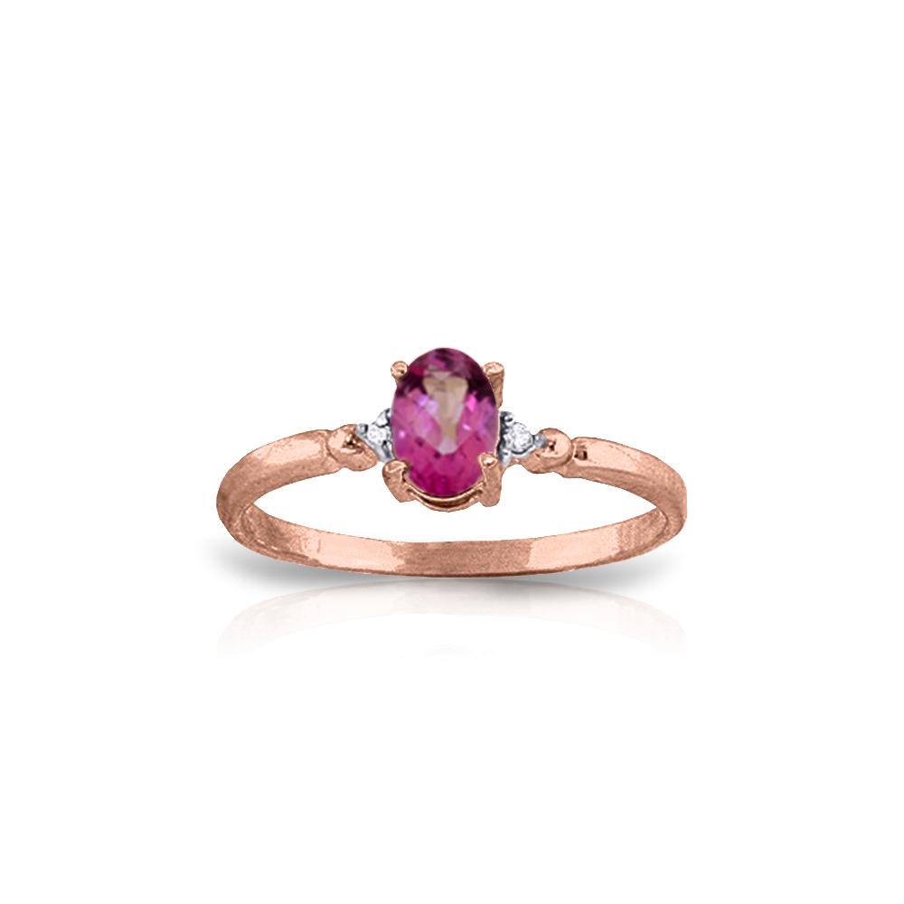 Genuine 0.46 ctw Pink Topaz & Diamond Ring Jewelry 14KT Rose Gold - REF-27H3X