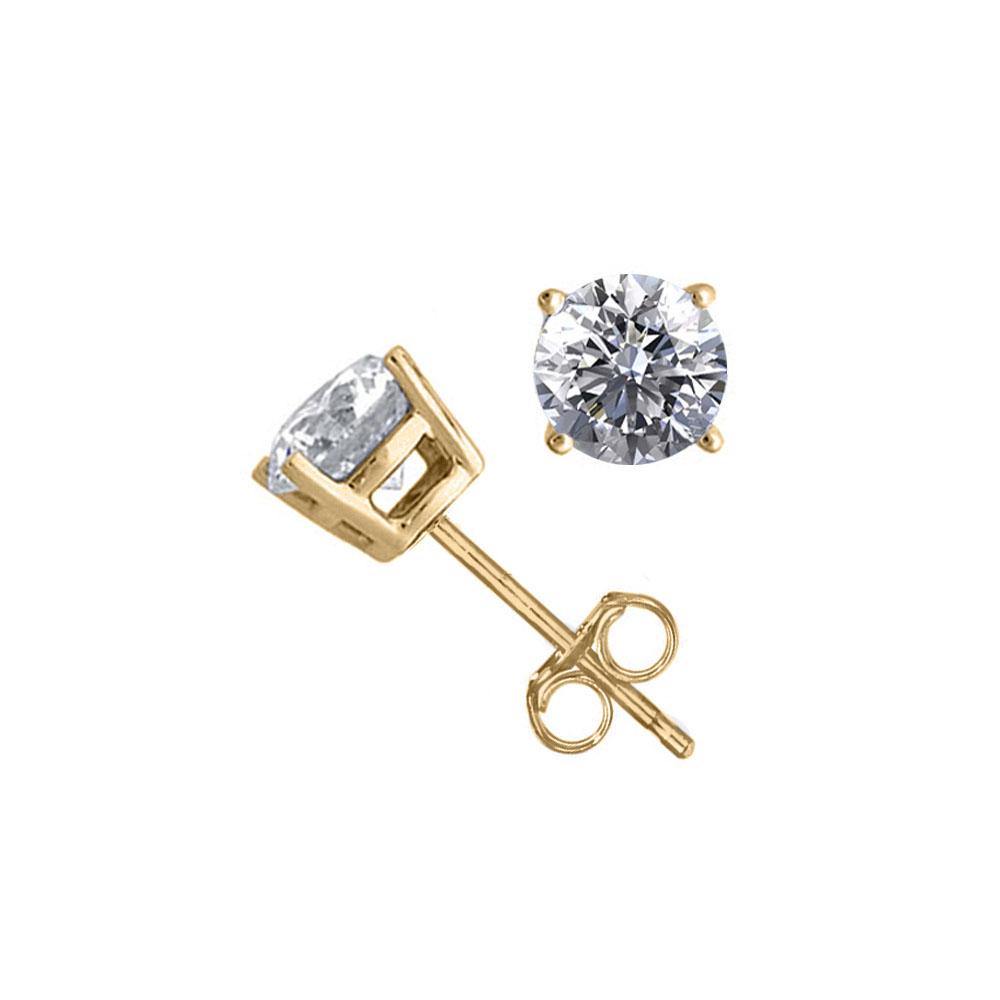 14K Yellow Gold 1.52 ctw Natural Diamond Stud Earrings - REF-394V9G-WJ13331