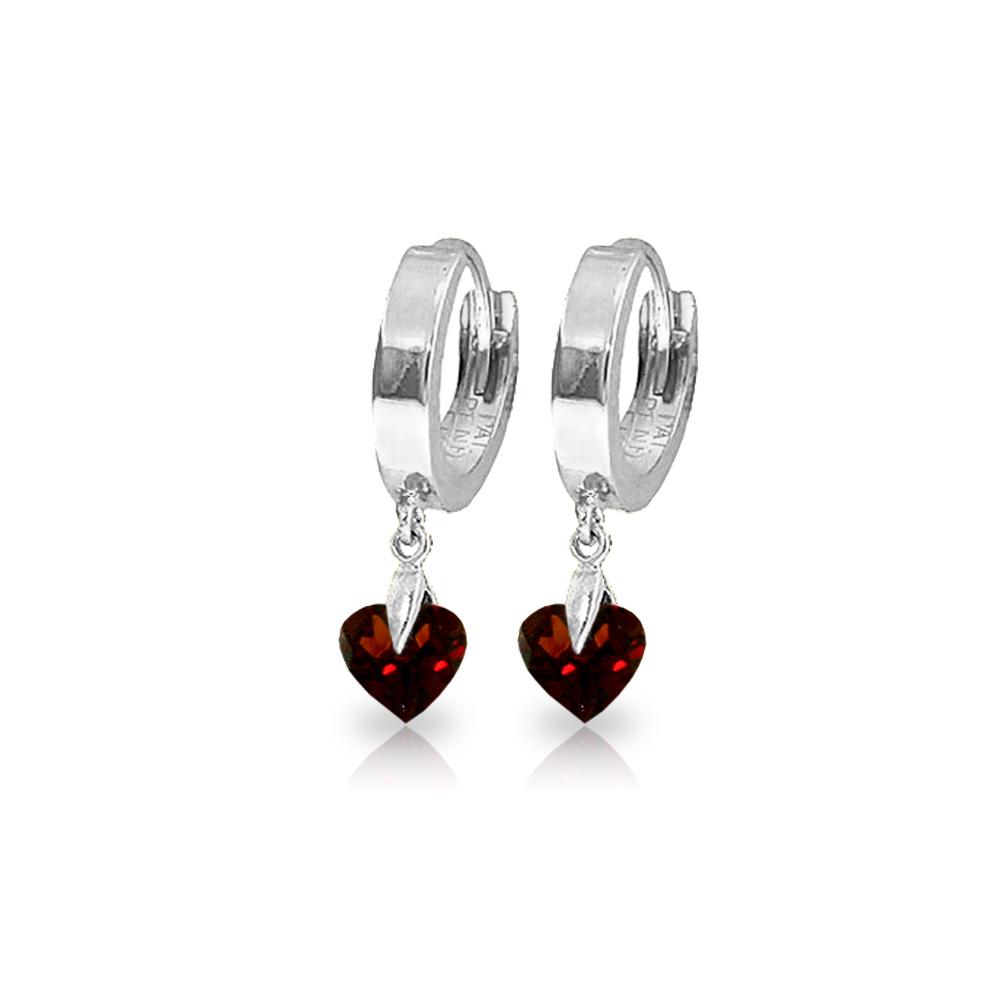 Genuine 1.50 ctw Garnet Earrings Jewelry 14KT White Gold - REF-25A8K