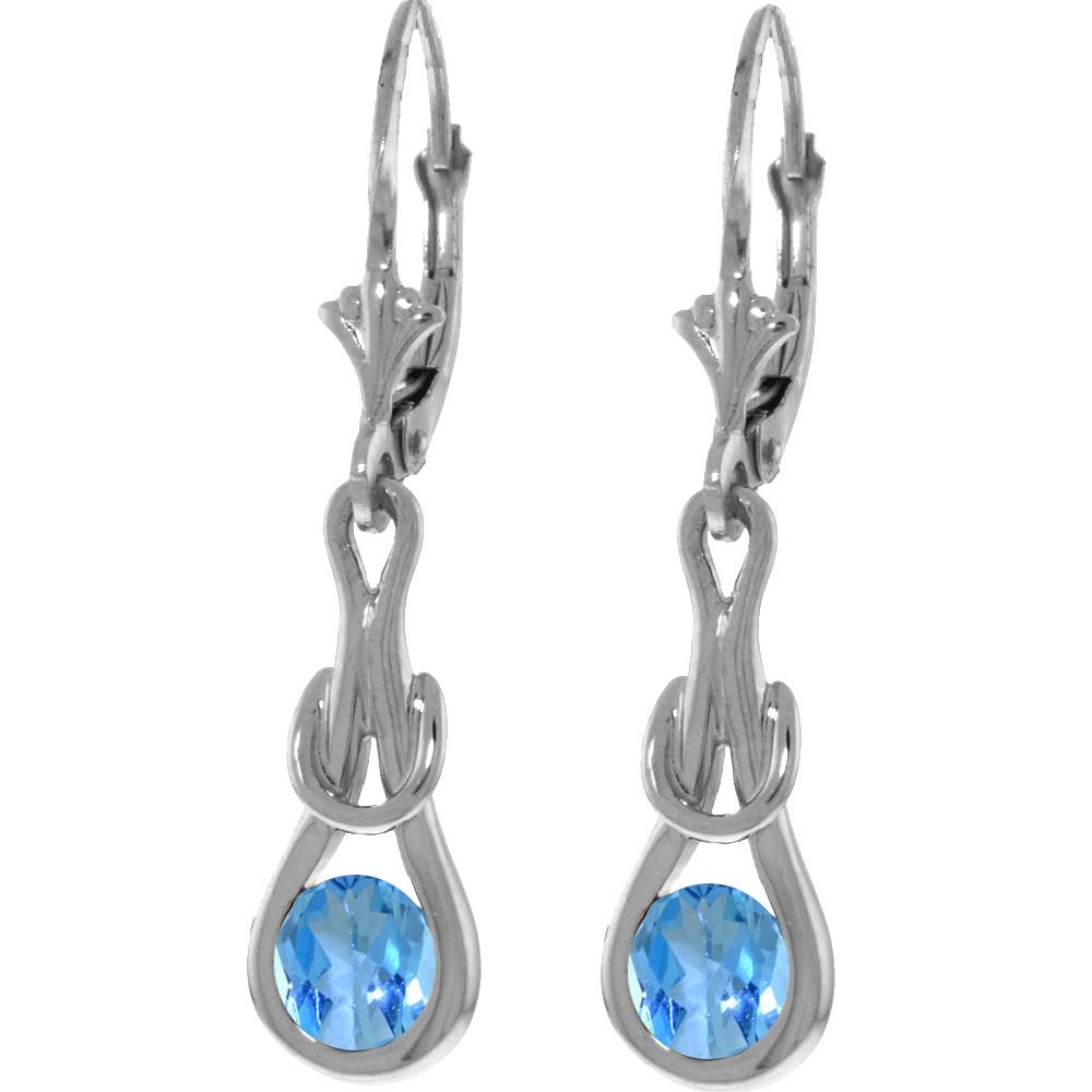 Genuine 1.30 ctw Blue Topaz Earrings Jewelry 14KT White Gold - REF-49Y3F