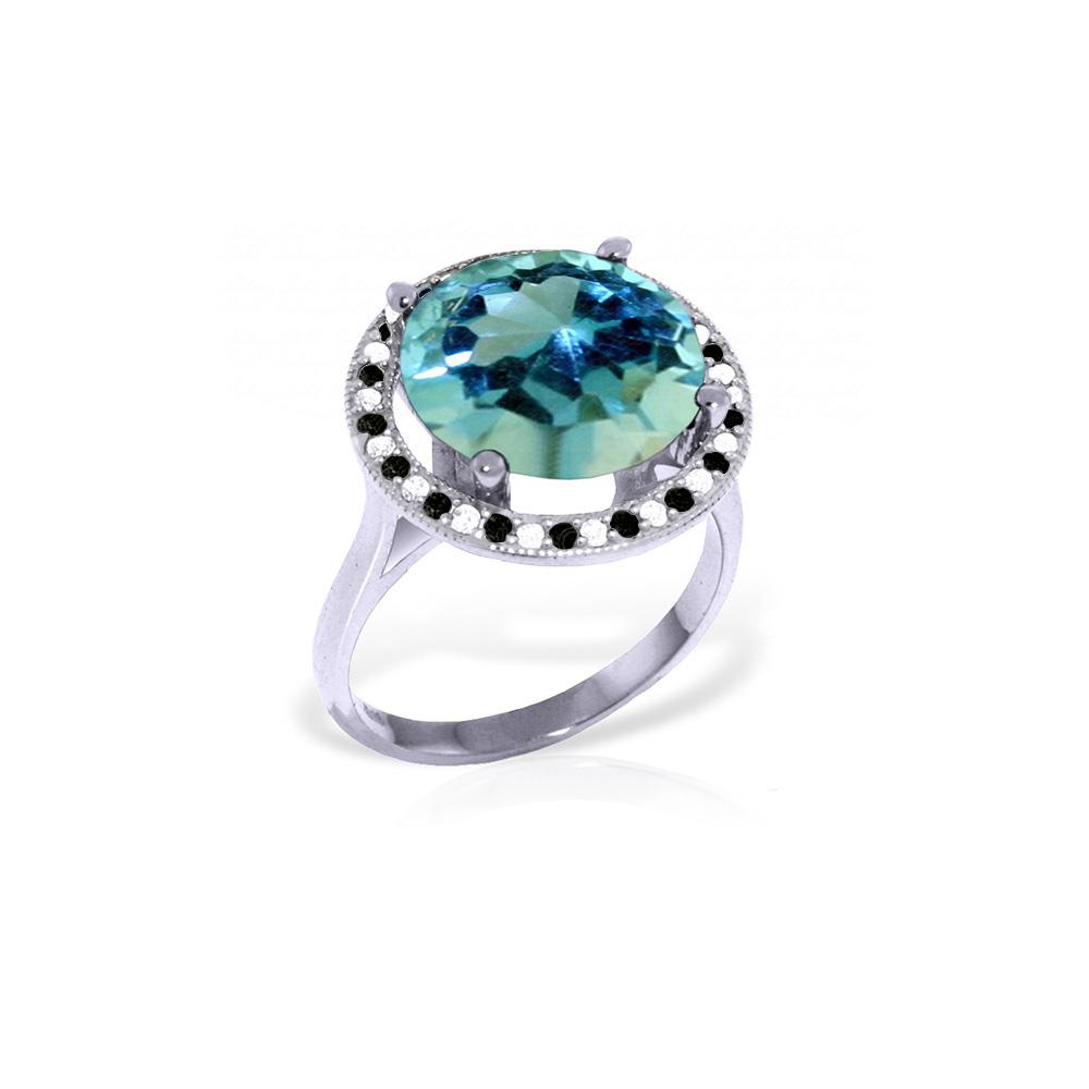 Genuine 8 ctw Blue Topaz, White & Black Diamond Ring Jewelry 14KT White Gold - REF-93K3V