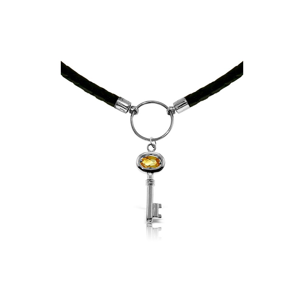 Genuine 0.50 ctw Citrine Necklace Jewelry 14KT White Gold - REF-65H8X