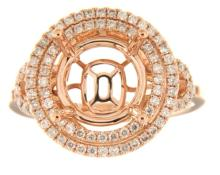 Genuine 14K Rose Gold 0.52CTW Diamond Semi Mount Ring - REF-85A3X