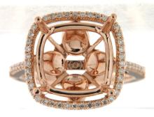 Genuine 14K Rose Gold 0.33CTW Diamond Semi Mount Ring - REF-80M2F