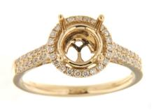 Genuine 14K Yellow Gold 0.34CTW Diamond Semi Mount Ring - REF-65A2X