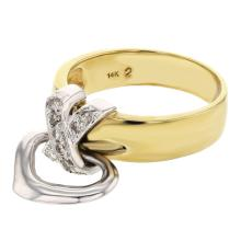 Genuine 14K Two Tone Gold 0.18CTW Diamond Fashion Ring - REF-48A5X