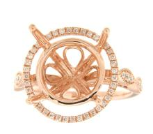 Genuine 14K Rose Gold 0.41CTW Diamond Semi Mount Ring - REF-77G8M