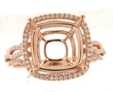 Genuine 14K Rose Gold 0.52CTW Diamond Semi Mount Ring - REF-83X9Y