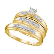 0.20CT Diamond Trio Set 10KT Ring Yellow Gold - REF-30H2N