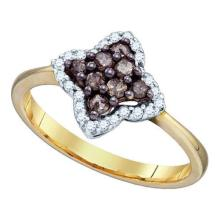 0.33CTW White and Champagne Diamond Anniversary 10KT Ring Yellow Gold - REF-22V4Y
