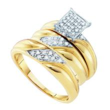 0.33CT Diamond Trio Set 10KT Ring Yellow Gold - REF-41V9Y