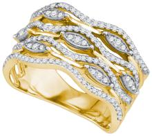 0.50CT Diamond Anniversary 10KT Ring Yellow Gold - REF-49Z5R