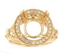 Genuine 14K Yellow Gold 0.38CTW Diamond Semi Mount Ring - REF-77Y4Z