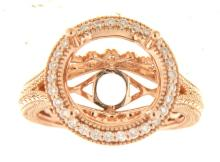Genuine 14K Rose Gold 0.31CTW Diamond Semi Mount Ring - REF-69N8A