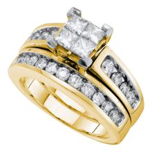 Lot 3003: 1.5 CTW Diamond Princess Bridal Engagement Ring 14KT Yellow Gold - REF-194W9K