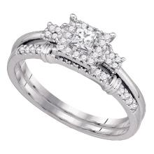Lot 3006: 0.30 CTW Princess Diamond Halo Bridal Engagement Ring 10KT White Gold - REF-41N9F