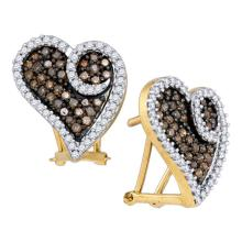 Lot 3007: 1.04 CTW Brown Color Diamond Heart Earrings 10KT Yellow Gold - REF-52M4H
