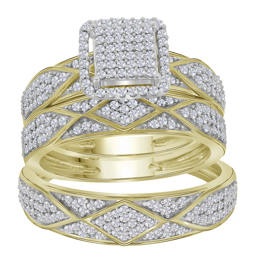 Lot 3009: 0.75 CTW His & Hers Diamond Cluster Matching Bridal Ring 10KT Yellow Gold - REF-67K4W