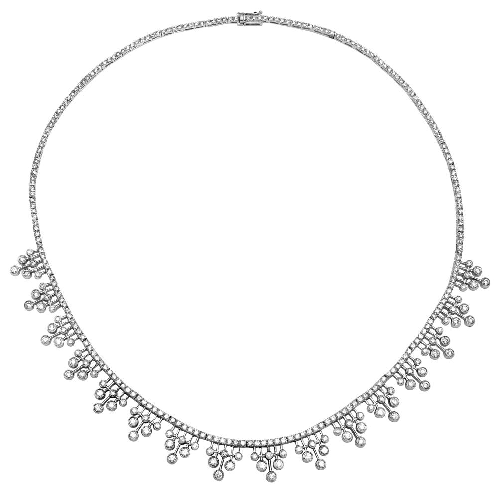 Natural 6.13 CTW Diamond Necklace 18K White Gold - REF-545H9M