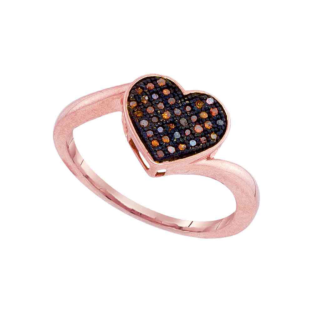 Lot 3011: 0.10 CTW Red Color Diamond Heart Love Ring 10KT Rose Gold - REF-19W4K