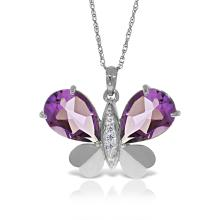 Lot 3015: Genuine 6.6 ctw Amethyst & Diamond Necklace Jewelry 14KT White Gold - REF-126Z3N