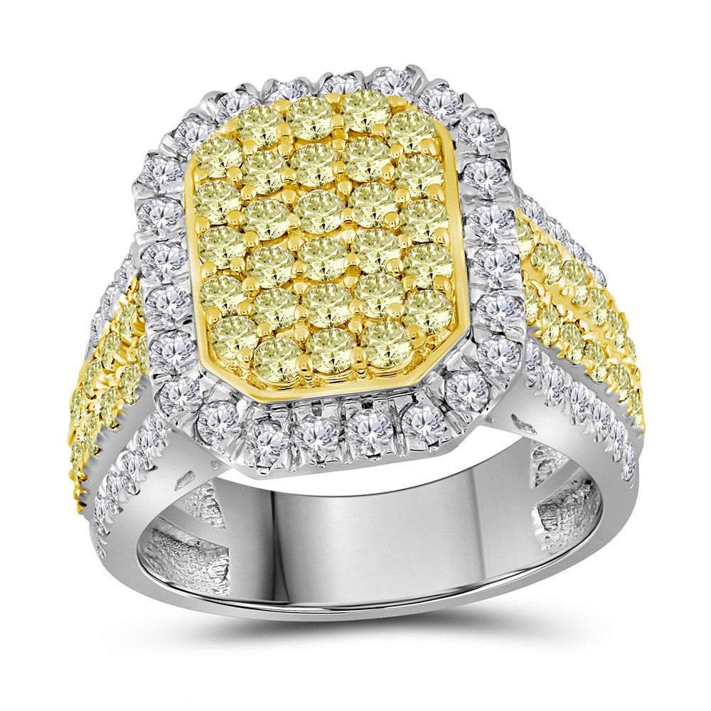 2.33 CTW Canary Yellow Diamond Rectangle Cluster Ring 14KT White Gold - REF-187M3H