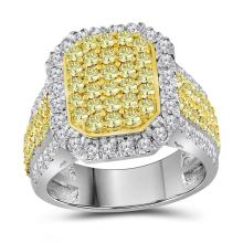 Lot 3020: 2.33 CTW Canary Yellow Diamond Rectangle Cluster Ring 14KT White Gold - REF-187M3H