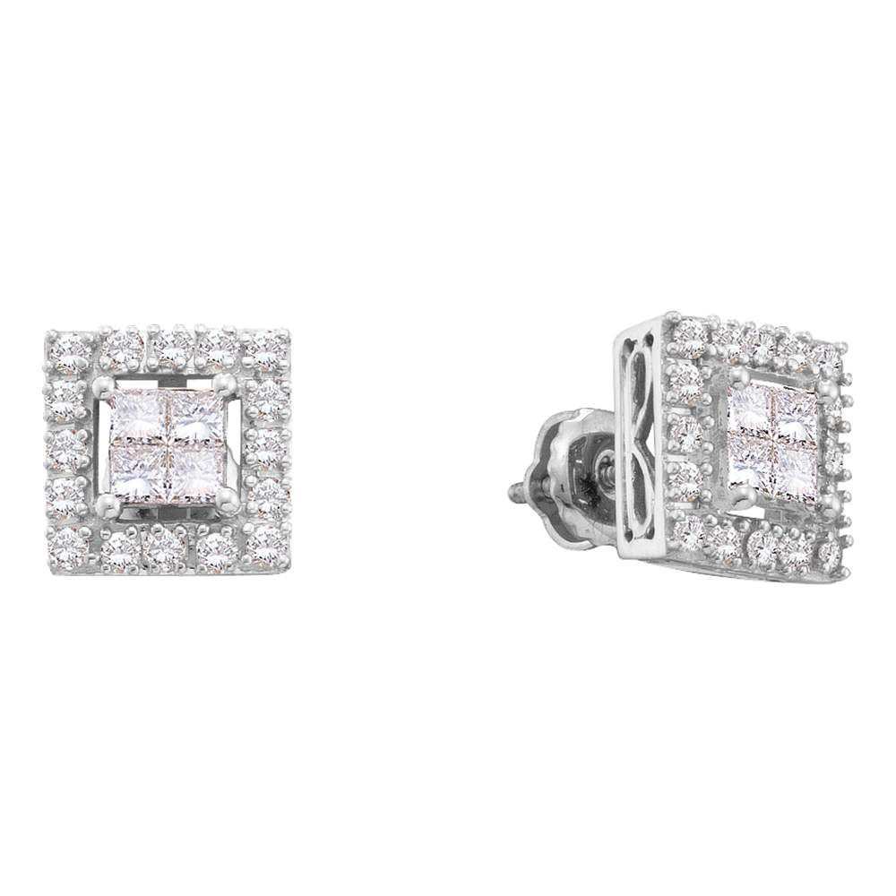 0.75 CTW Princess Diamond Framed Screwback Earrings 14KT White Gold - REF-79Y4X